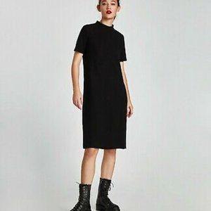 ZARA Trafaluc Black FUNNEL Collar Midi Knit Dress